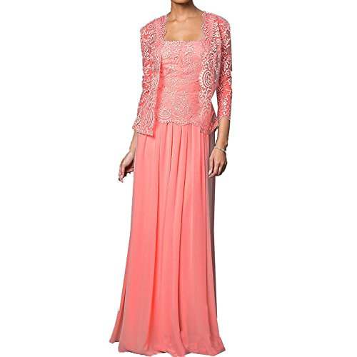 faa49dc2043 H.S.D Mother of the Bride Dress Chiffon Long Formal Gowns with Jacket Coral  18W