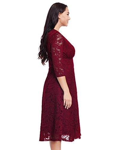 26f51a504e50 ... Women s Plus Size Maroon Lace Bridal Formal Skater Dress 20W.   