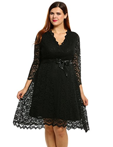 Meaneor Women Plus Size Spring 34 Sleeve Lace Dress Cocktail Dress