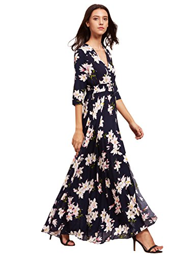 122391bd73 ... Trendy Dresses/Milumia Women's Button Up Split Floral Print Flowy Party  Maxi Dress Navy XL. ; 
