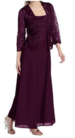 Mother-Bride-Evening Formal Lace Dress with Jacket