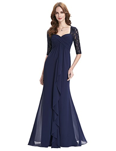 Womens Lace Long Mother Of The Bride Dresses With Sleeves Plus Size