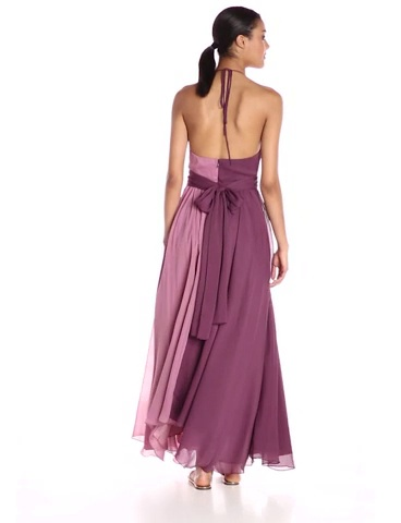 2-Tone Key Hole Crinkle Chiffon Gown