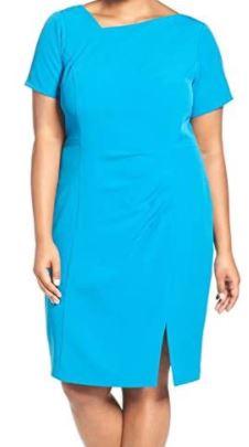 Plus-Size Assymetrical Side Drape Dress