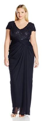 Plus Size Cap Sleeve Sequin and Lace Bodice Draped Gown