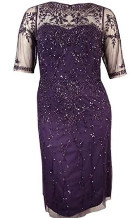 Plus-Size Fully Beaded Cocktail Dress