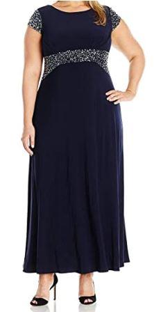 Plus-Size-Women-Beaded-Waist-Dress