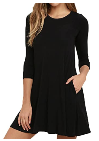 Round Neck 3-4 Sleeves A-line Casual Tshirt Dress with Pocket