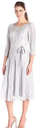 T-Length Dress with Tie Belt and Panel Detail