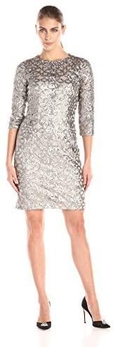 Womens-3-4-Sleeve-Beaded-Embellished-Neck-Dress