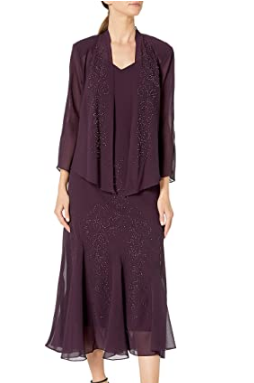 Women's Beaded Chiffon Jacket Dress