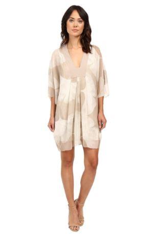 Womens-Ls-V-Neck-Printed-Mini-Kaftan-Dress