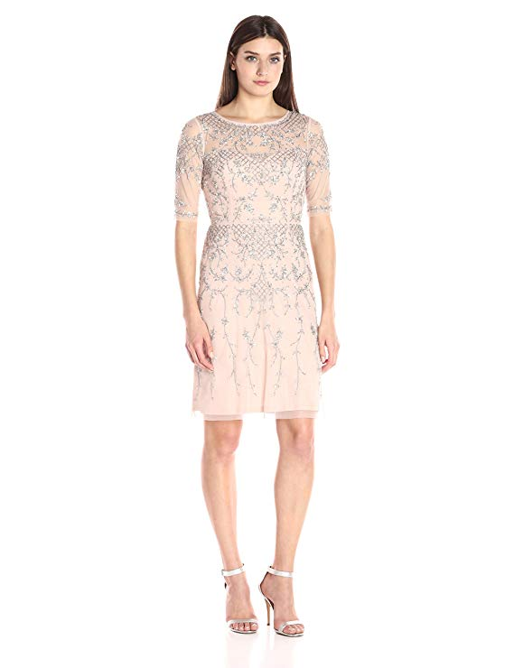 7c441cf9aa Adrianna Papell Women s 3 4 Sleeve Fully Beaded Cocktail Dress with ...
