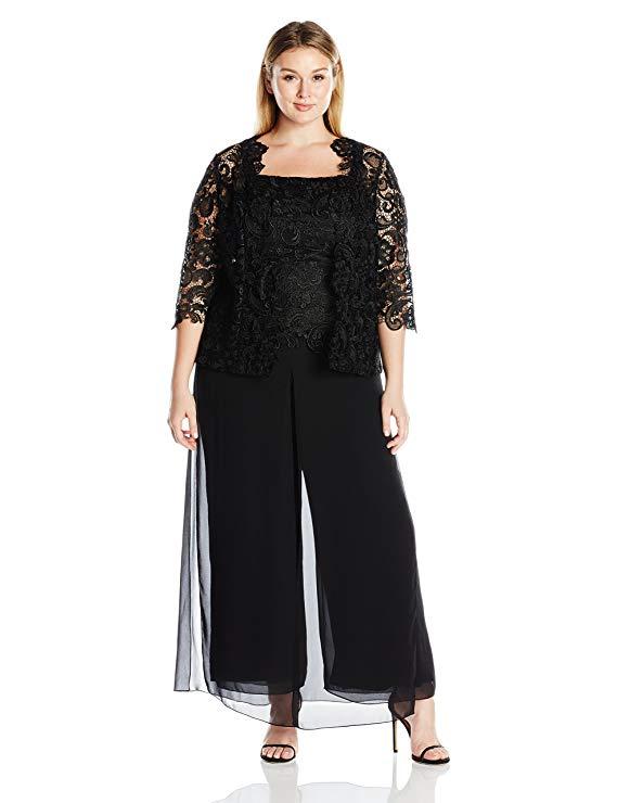 Emma Street Women\'s Plus Size Lace Pant Suit Combo
