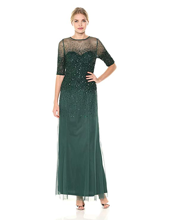 Adrianna Papell Women\'s 3/4 Sleeve Beaded Illusion Gown with ...