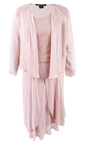 3 Piece Sequin Lace Dress with Chiffon Jacket
