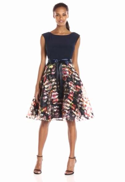 Womens-Knit-Top-Printed-Organza-Party-Dress