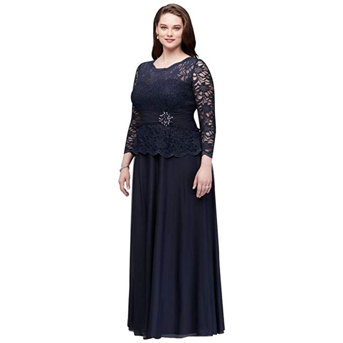 David\'s Bridal Plus Size Glitter Lace Long Sleeve Mother Bride/Groom Dress  Style 757727D
