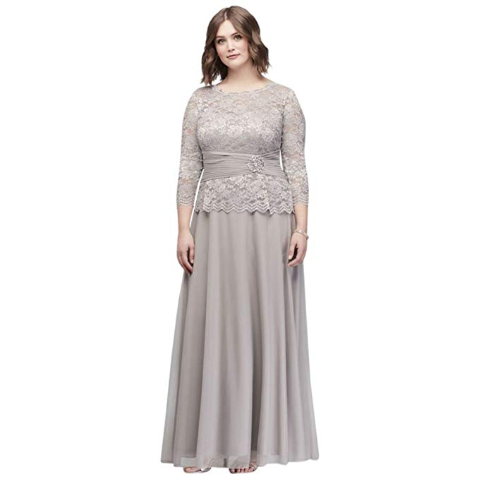 Plus Size Mother Bride Dresses: David's Bridal Plus Size Glitter Lace Long Sleeve Mother