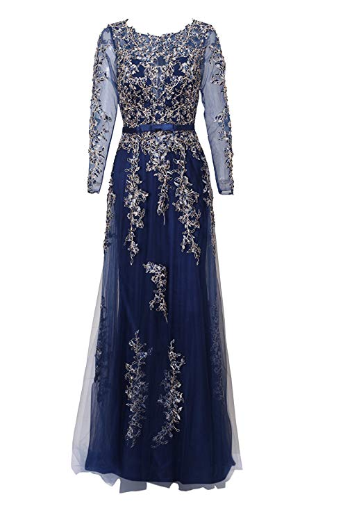 Illusion Long Sleeve Embroidery Prom Formal Dress