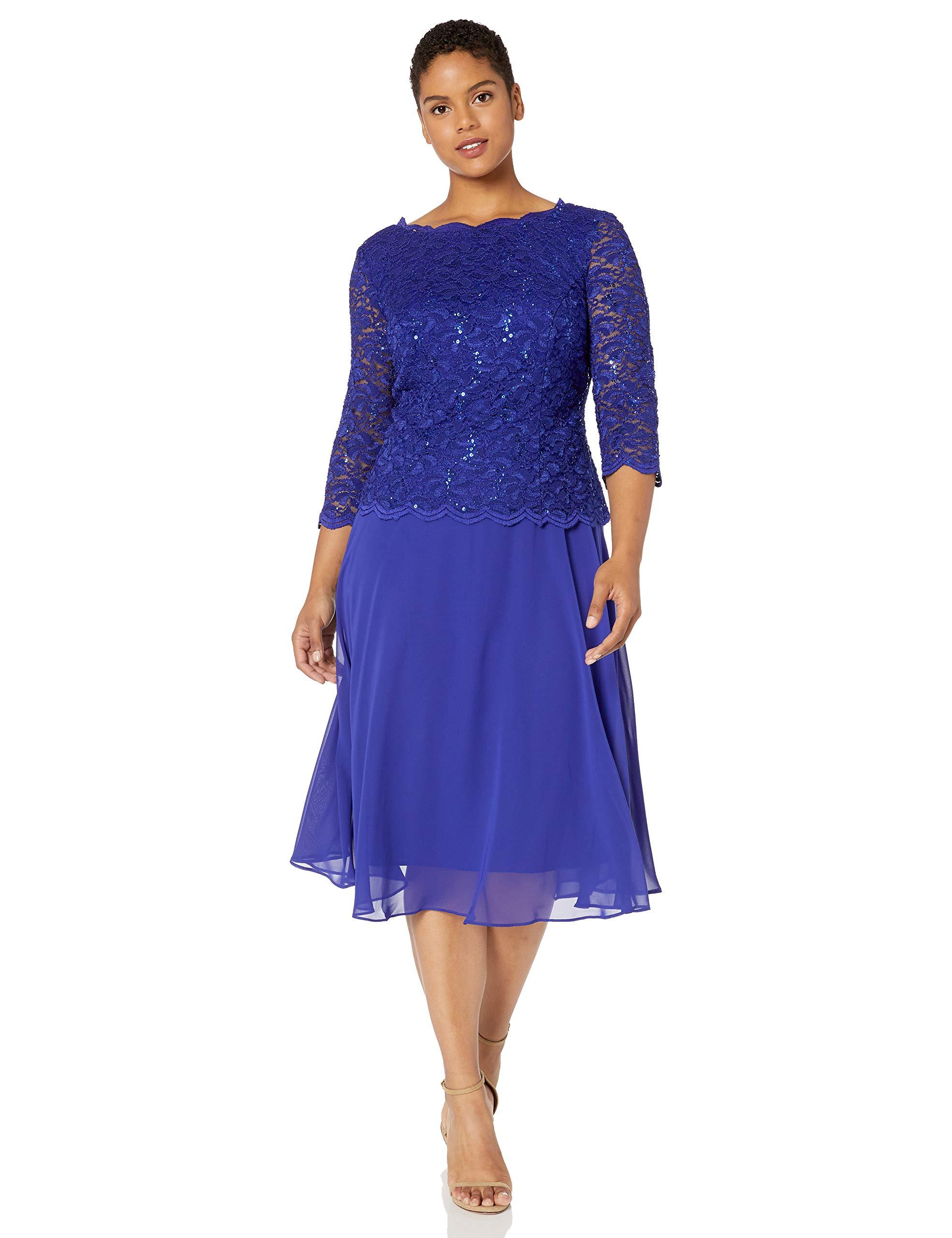 Alex Evenings Women\'s Plus Size Tea-Length Lace Mock Dress